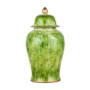 Green Ceramic Jar with Lid