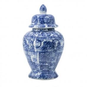 Blue/White Porcelain Urn Vase with Lid