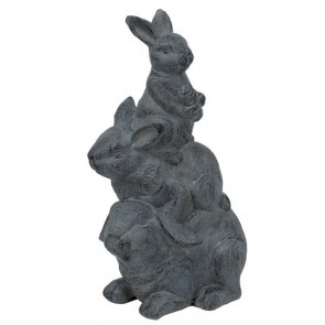 Outdoor Curious Rabbits Statue