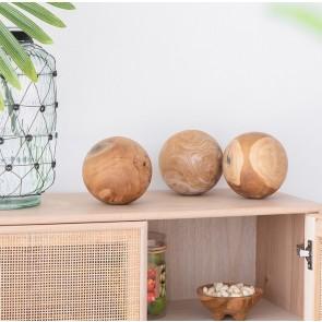 3 Decorative Teak Balls