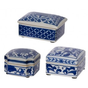 Set of 3 Leith Blue Decorative Boxes