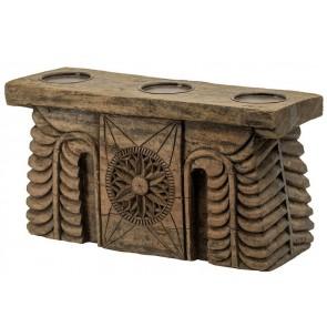 Carved 3 Pillar Candle Holder