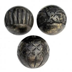 Set of 3 Carved Mango Wood Spheres