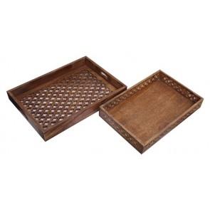 Set of 2 Mango Wood Trays