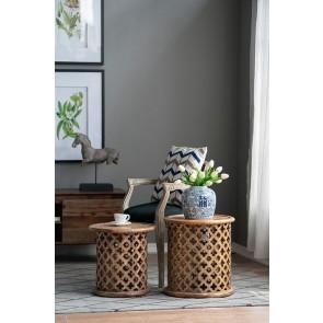 Set of 2 Jali Mango Wood Side Tables