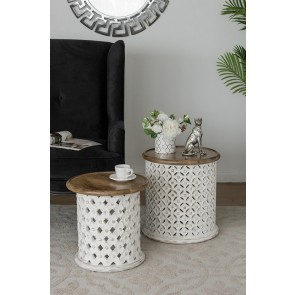 Set of 2 Jali Mango Wood Side Tables - Whitewash