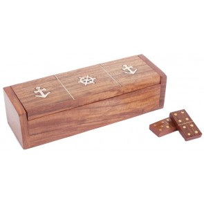 Wooden Dominoes in Walnut Finish Box