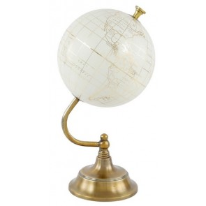 "8"" White Globe with Wooden Base"