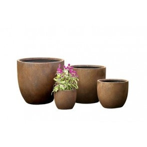 Set of 4 Fibre Round Clay Pots Rust Finish