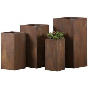 Set of 4 Tall Fibre Clay Pots Rust Finish