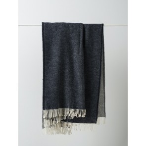 Twill Wool Throw with Fringe Navy/Vanilla
