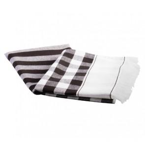 Buffalo Fringe Tea Towel Black Set of 4