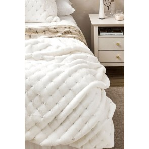 Heirloom Valentina Faux Fur Throw - White