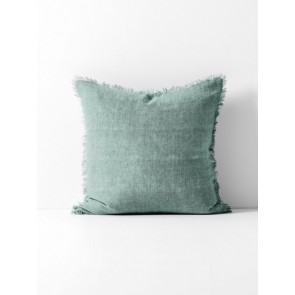 Vintage Linen Fringe Square Cushion by Aura - Jade