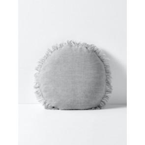 Vintage Linen Fringe Round Cushion by Aura - Smoke