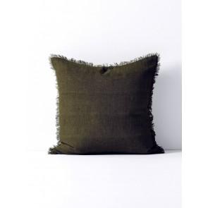 Vintage Linen Fringe Square Cushion by Aura - Khaki