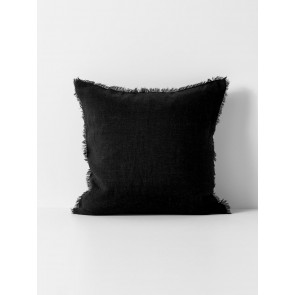 Vintage Linen Fringe Square Cushion by Aura - Black