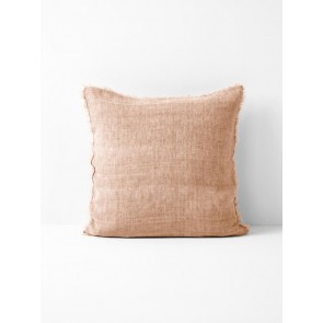 Vintage Linen Fringe Square Cushion by Aura - Pink Clay