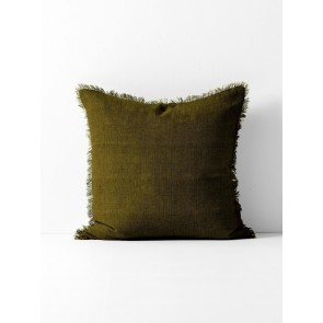 Vintage Linen Fringe Square Cushion by Aura - Khaki