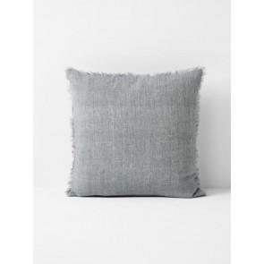 Vintage Linen Fringe Square Cushion by Aura - Smoke
