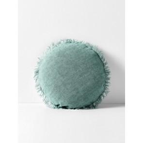 Vintage Linen Fringe Round Cushion by Aura - Jade