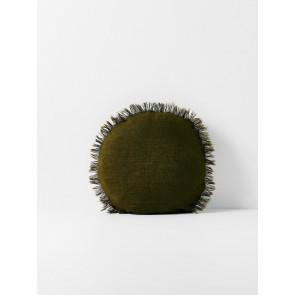 Vintage Linen Fringe Round Cushion by Aura - Khaki