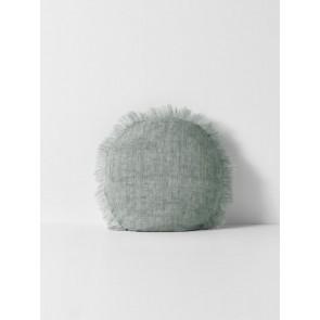 Vintage Linen Fringe Round Cushion by Aura - Limestone