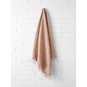 Vintage 100% Linen Fringe Throw by Aura - Pink Clay