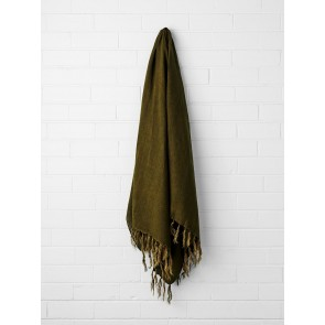 Vintage 100% Linen Fringe Throw by Aura - Khaki