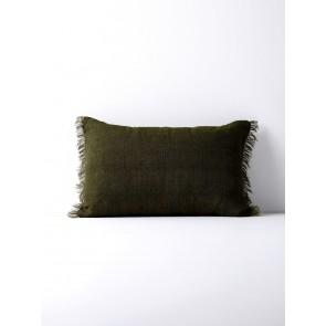 Vintage Linen Fringe Cushion by Aura - Khaki