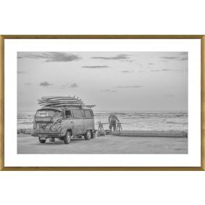 Vintage Surfer Print in Glass with Oak Frame