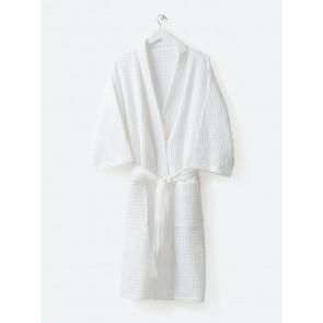 Waffle Organic Cotton Bath Robe White