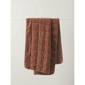 Washed Velvet Quilted Throw - Jam