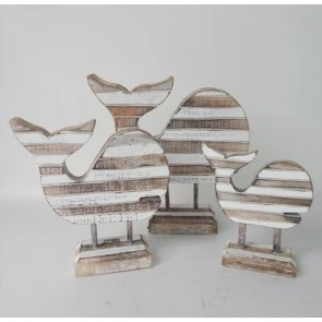 Slat Whales on Stand - Set of 3