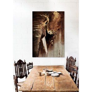 Wood Panel Art African Bull Elephant