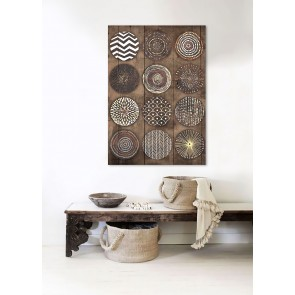Wood Panel Art Tribal Weave III